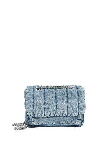 Quilted denim crossbody bag