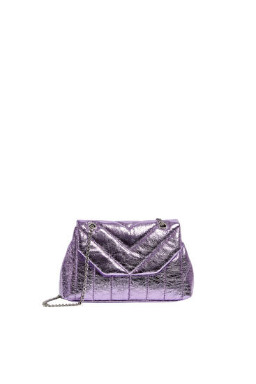 Quilted crossbody bag with topstitching detail