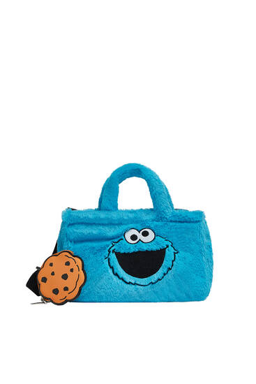 Faux fur Sesame Street mini tote bag