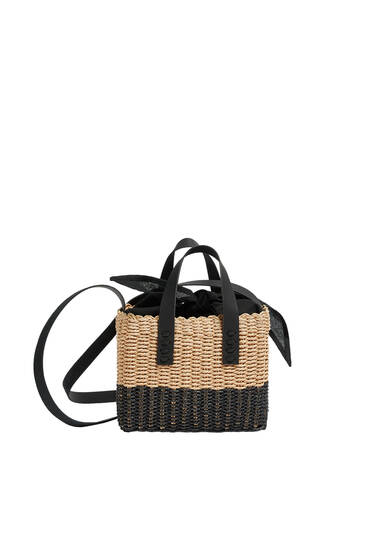 Two-tone braided paperbag style crossbody bag