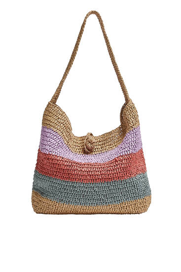 Multicoloured braided paper tote bag
