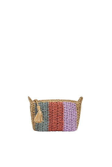 Multicoloured woven paper toiletry bag