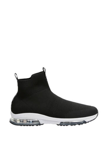 Black high-top knit trainers