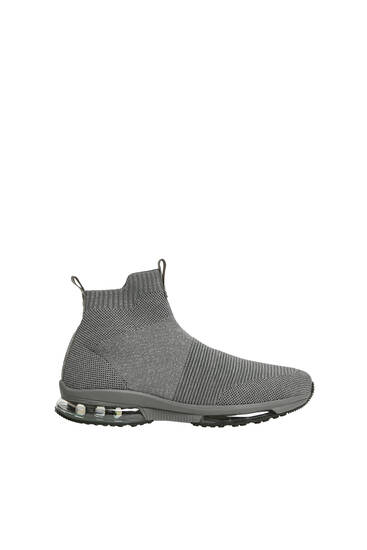 Grey high-top knit trainers