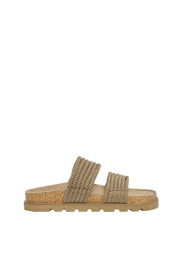 Cord sandals with track sole