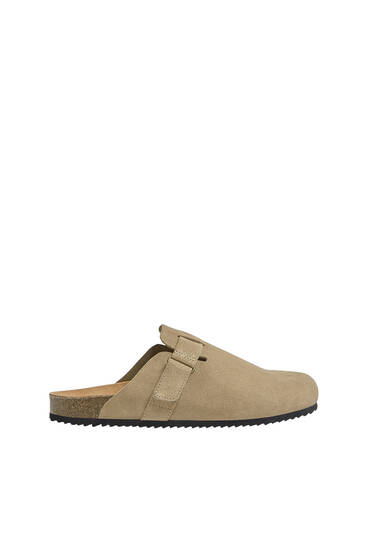 Split suede clogs with buckle detail